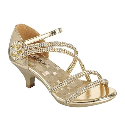 Link Angel-48K Little Girls Rhinestone Heel Platform Dress Sandals Shoes,Gold_48,2