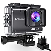 Crosstour Native 4K50FPS Action Camera 20MP Super Stable Anti-Shake Time Lapse Wi-Fi Underwater 40M Waterproof Camera 2x1350mAh Batteries and Battery Charger Accessories Kit CT9500