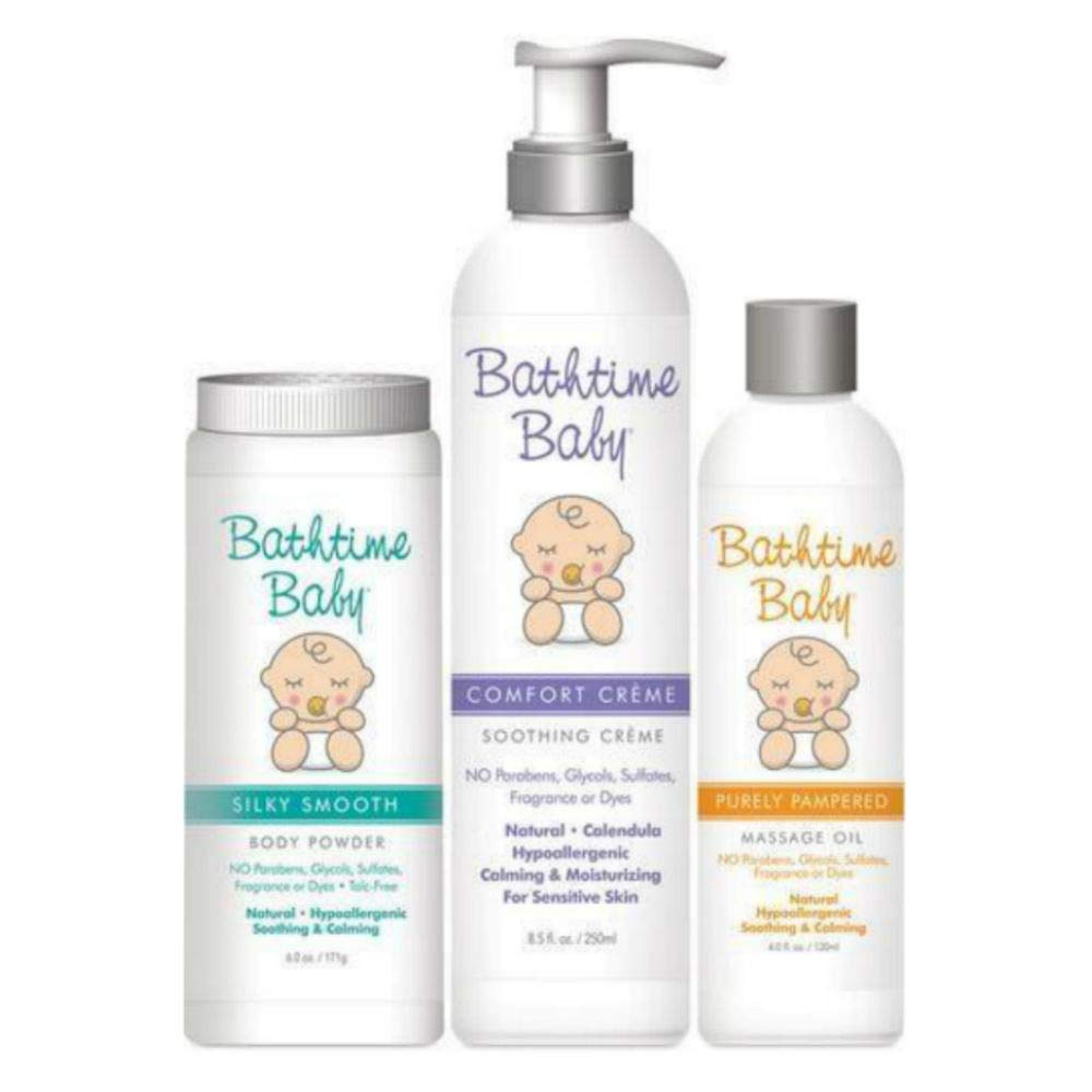 Bathtime Baby Natural Skin Care Soft Skin Trio: Comfort Creme Soothing Cream, Silky Smooth Body Powder & Purely Pampered Massage Oil - Hypoallergenic, Safe & Gentle. No Toxins or Chemicals by Bathtime Baby