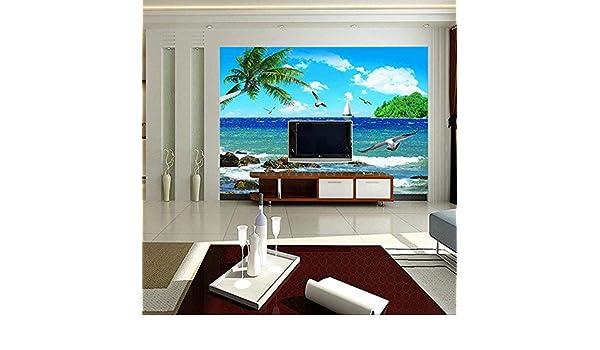 WEMUR Sea Mew Palm Beach Blue Sky Landscape Mural Papel tapiz fotográfico para la sala de estar Dormitorio Fondos de pantalla Mejoras para el hogar Papeles pintados, 430x300 cm (169.3 por 118.1