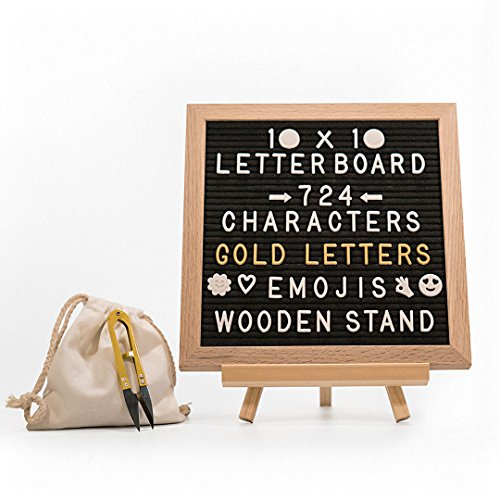 10x10 Inch BLACK Vintage Letter Board | 724 WHITE & GOLD Characters with EMOJIS SYMBOLS | Premium Oakwood Frame | STAND + WALL MOUNT | Clippers + Cotton Bag | Great for HOME DECOR, Restaurants, Cafe