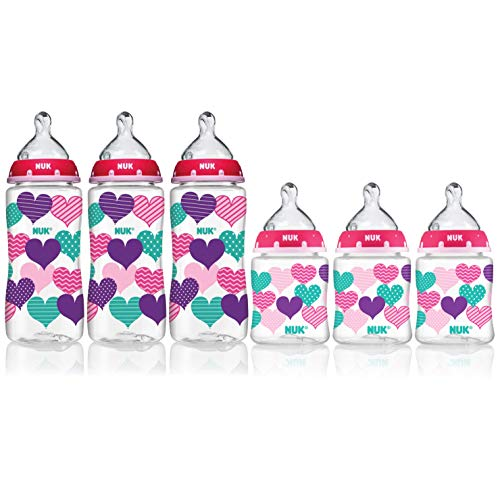 NUK 10 Ounce & 5 Ounce Orthodontic Fashion Bottle Set, Pink