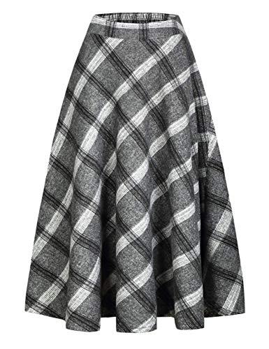 (IDEALSANXUN Women's High Waist Woolen Swing Skirt Thicken Winter Warm Plaid Aline Retro Long Skirts (XX-Large, 3 Grey))