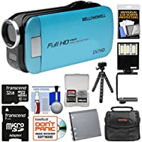 Bell & Howell Slice2 DV7HD 1080p HD Slim Video Camera Camcorder (Blue) with 32GB Card + Battery + Case + Flex Tripod + LED Video Light + Kit