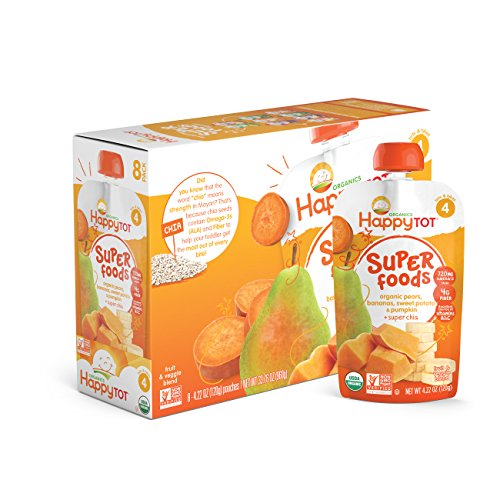 Happy Tot Organic Stage 4 Super Foods, Pears, Bananas, Sweet Potatoes & Pumpkin + Super Chia, 4.22 Ounce (Pack of (Sweet Pears)