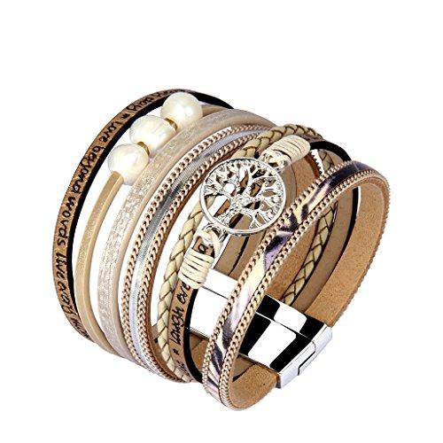 Jenia Tree of life Leather Cuff Bracelet Personality Engraved Braided Wrap Bangle with Pearl - Handmade Boho Jewelry for Women Kids Men Teens Girls Birthday Gift - Beige by Jenia (Image #1)