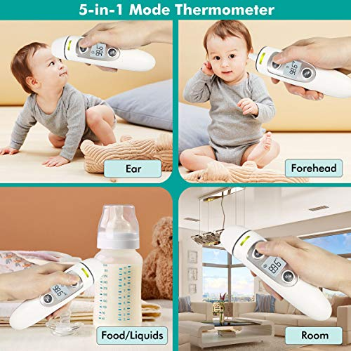 Medical Infrared Forehead Thermometer Ear Thermometer Digital Multifunctional Thermometer for Baby and All Ages with Automatic Fever Alarm and Data Memory Function