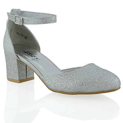 Court Sandals Mid Heel Ladies ESSEX GLAM Buckle Shoes Silver Ankle Womens Low New Strap Glitter Block UnCqP7