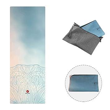 PIDO 2019 - Esterilla de Yoga de Viaje, diseño Estampado, de Goma, ecológica, Ligera, Antideslizante, para Yoga, Estudio y Viajes
