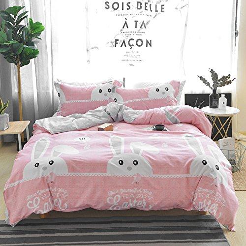Cute Little Rabbit Set (Warm Embrace 100 Percent Cotton Duvet Cover Set Cute Rabbit Pattern Girls Pink Bedding,Duvet Cover and pillowcases,Full Queen Size,3 Piece)