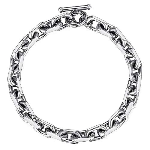 Trendsmax Classic Stainless Steel Toggle Clasp Charm Oval Rolo Cable Bracelet Link Chain Silver Tone 10 Inch
