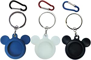 Silicone Case Accessories with Mouse Style for Apple AirTags Tracker/Finder Items/Locator,Scratch Protective Cover with Keychain to Convenient for Carrying(3 Pack)(Black,Blue,Green-Glow in The Dark
