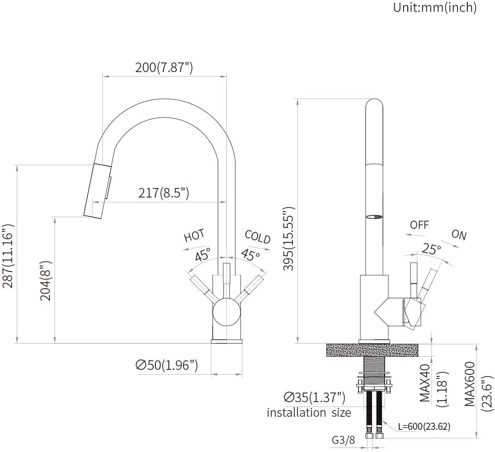 KAIBOR Edelstahl K/üchenarmatur 360/° Drehbar Wasserhahn K/üche mit 2 Strahlarten Sp/ültischarmatur f/ür K/üche Sp/üle Hohe Einhand Sp/ültischbatterie mit Ausziehbare D/üse