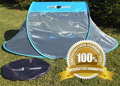 Gnat Guard Skyview Free-standing Pop-Up Mosquito-Net Tent - The Best Convenient Solution for Camping Excursions or Festivals to Protect You From Pesky Gnats, No-See-Ums, Spiders & Other Critters - Pops Open Instantly with No Work Involved - High Visibility Mesh Ceiling Gives a Great View of the Night Sky Above - Vibrant Blue Color - Kids & Parents Will Love It! by Gnat Guard
