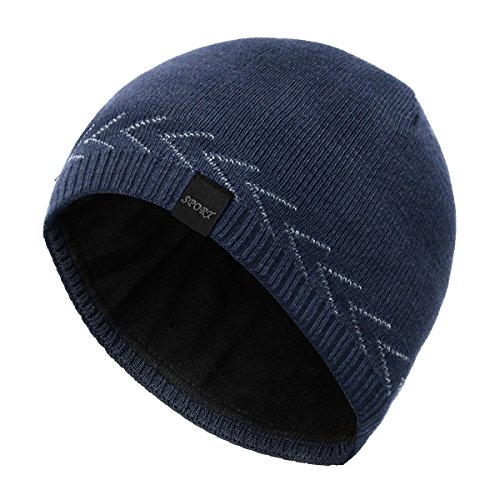 OMECHY Mens Winter Warm Knitting Hats Plain Skull Beanie Cuff Toboggan Knit Cap,Navy
