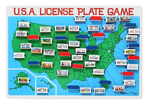 Melissa & Doug Flip to Win Travel License Plate Game - Wooden U.S. Map Game Board