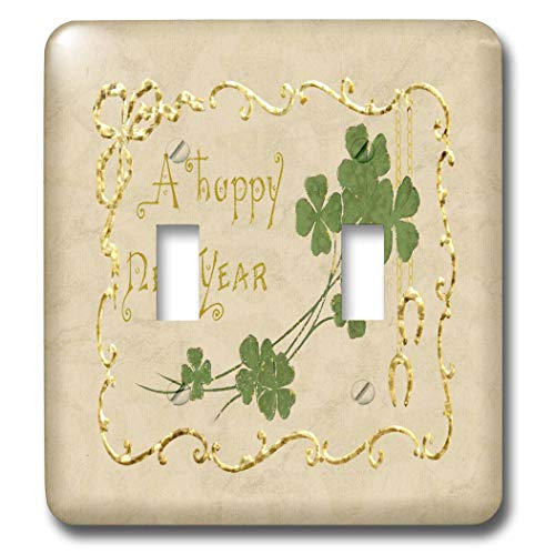 Gold Double Horseshoe - 3dRose Beverly Turner New Year Design - A Happy New Year, Green Clover and Horse Shoes, Framed, Gold Color - Light Switch Covers - double toggle switch (lsp_302977_2)