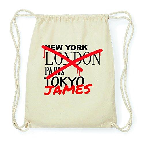 JOllify JAMES Hipster Turnbeutel Tasche Rucksack aus Baumwolle - Farbe: natur Design: Grafitti