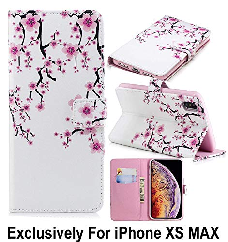 (Pelotek; iPhone Xs Max Cherry Blossom Case, iPhone Xs Max Colorful Wallet Case | Elegant Pink White Floral Design Pattern Luxury Wallet | Strong Inner Case Credit/ID Card Money Holder Slots (Cherry) )