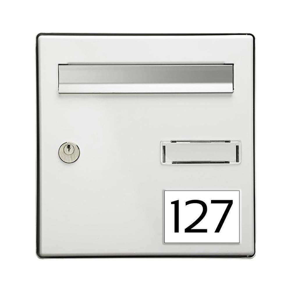 100x70mm Num/éro pour boite aux lettres personnalisable rectangle grand format blanc chiffres noirs