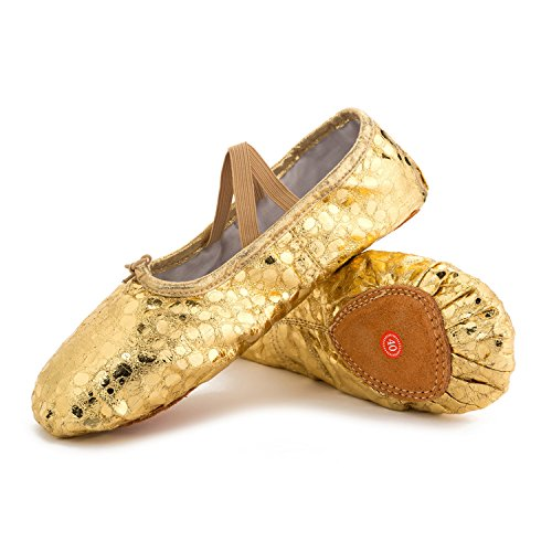 Classic Girls Flat (JOINFREE Girl's Women's Classic Leather Ballet Dancing Yoga Shoes Slippers Practise Gold Dot 5.5 B(M) US Women)