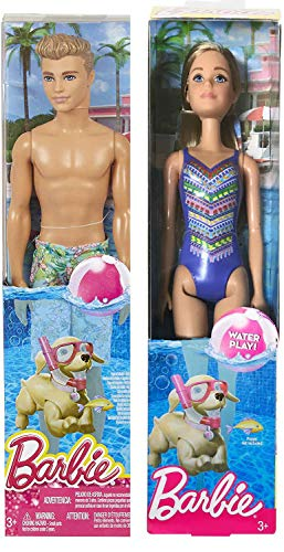 Glitz And Glamour Outfits (Barbie in Blue Couple Doll 2 Pack Pretty Blonde Fashion Swimsuit Water Play Bundled with + Ken Doll in Swim Trunks Makes a Splash Original)