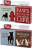 Paws To Enjoy The Good Life Dog Sayings 4 Piece Absorbent Ceramic Coaster Set