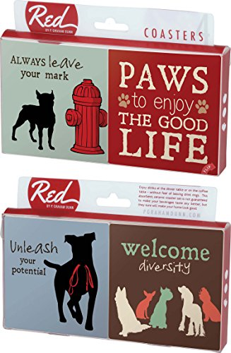 Paws To Enjoy The Good Life Dog Sayings 4 Piece Absorbent Ceramic Coaster Set by P Graham Dunn