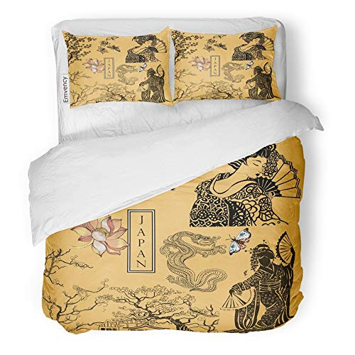 Emvency Decor Duvet Cover Set King Size Ink of Asian Style Japanese Woman Chinese Dragon Graphic Japan Bird Sakura 3 Piece Brushed Microfiber Fabric Print Bedding Set -
