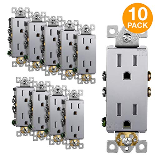 Copper Steel Duplex Outlet - ENERLITES Elite Series Decorator Receptacle Outlet Child Safe Tamper-Resistant, Self-Grounding, 2-Pole, Residential Grade, 15A 125V, UL Listed, 61501-TR-SV-10PCS, Silver (10 Pack)