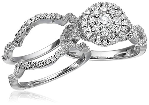 14k white gold diamond 3 piece wedding ring set 1 14 cttw h i color - 3 Piece Wedding Ring Set