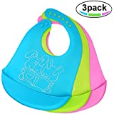 Waterproof Silicone Baby Bib, Easy to Clean, Dry, Portable and Keep Stains Off, Comfortable and Adjustable Soft Feeding Bibs for Babies or Toddlers (6-72 Months), Set of 3 Colors