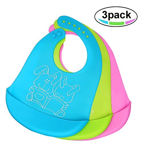 Waterproof Silicone Baby Bib, Easy to Clean, Dry, Portable and Keep Stains Off, Comfortable and Adjustable Soft Feeding Bibs for Babies or Toddlers (6-72 Months), Set of 3 Colors ()