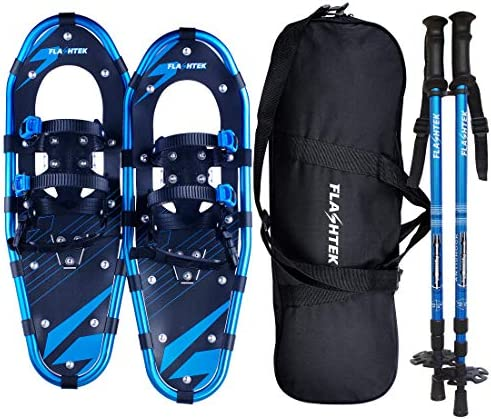 FLASHTEK 21 25 30 Inches Light Weight Snowshoes for Women Men Youth Kids, Aluminum Terrain Snow Shoes with Trekking Poles and Carrying Tote Bag