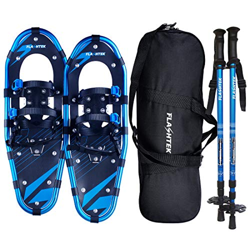 "FLASHTEK 21/25/30 Inches Snowshoes for Men and Women, Light Weight Aluminum Terrain Snow Shoes (Blue, 25"")"