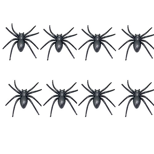 BinaryABC Halloween Plastic Fake Spider, Realistic Rubber Spider,Jokes Props for Halloween Party halloween Horror Nights 8Pcs(Black) -
