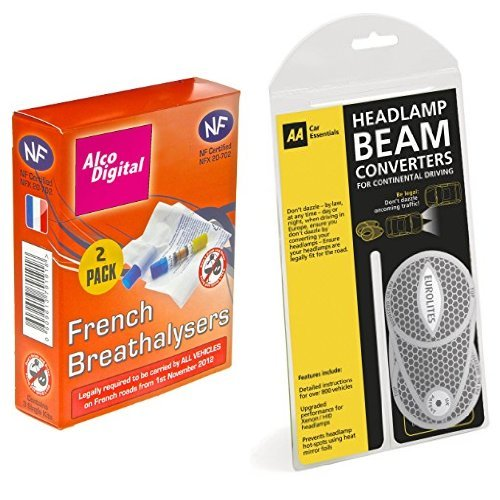 AlcoDigital French NF Approved Single Use Breathalyzer (Twin pack) & AA Headlamp Beam Converters, Deflectors