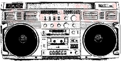 Deep Red Rubber Cling Stamp 1980's Retro Boom box Cassette Radio -