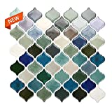 STICKGOO Premium Anti Mold Peel and Stick Backsplash, Arabesque Tile Backsplash, Stick on Tiles for Kitchen & Bathroom Backsplash (Teal)