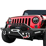 oEdRo Front Bumper, Compatible for 2007-2018 Jeep Wrangler JK Unlimited, Rock Crawler Bumper with Winch Plate 4 x LED Lights & 2 x D-Rings