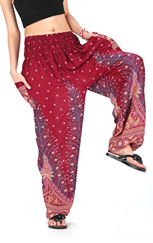 CandyHusky Elastic Waist Peacock Feather Baggy Hippie Boho Yoga Harem Pants (Dark - Street Dark Pants
