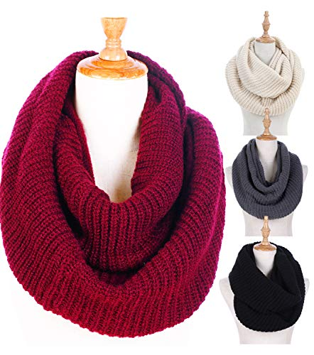 Cable Long Knit Scarf (Women Winter Knit Infinity Scarf Fashion Circle Loop Scarf Thick Warm Cowl Burgundy)