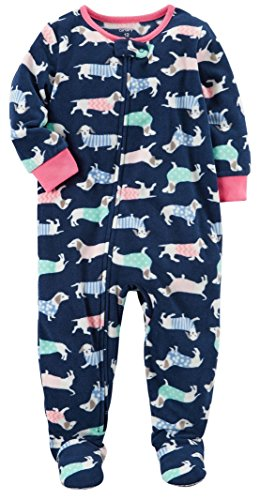 Carters Dog Blanket - Carter's Girls' 1-Piece Footed Sleeper Fleece Pajamas (Blue Dogs, 6 Months)
