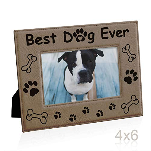 - KATE POSH - Best Dog Ever Engraved Leather Picture Frame - Dog Lover Gifts, Dog Memorial Gifts, Birthday Gifts, Dog Paws and Bones Decor, Pet Memorial Gifts (4x6-Horizontal)