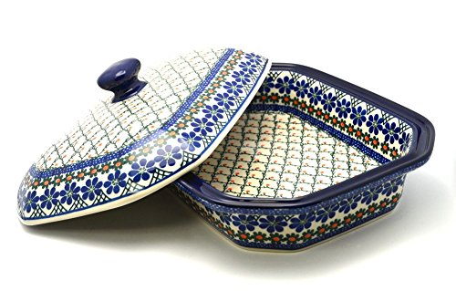 Polish Pottery Baker - Rectangular Covered - Large - Primrose by Polish Pottery Gallery