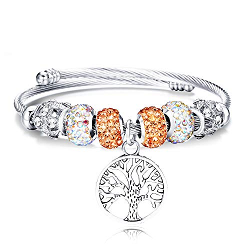 Tree of Life Beaded Bracelet Bangle Jewelry Adjustable Stainless Steel Fashion Pendant Bracelet for Teen Girls Women(Orange)