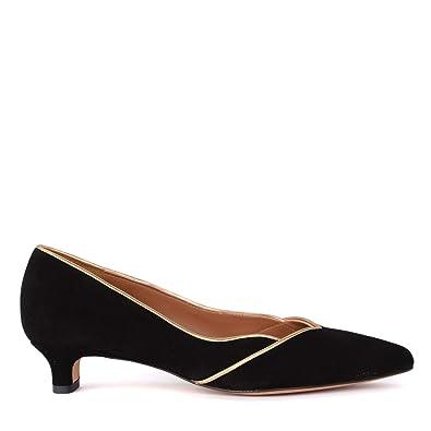 0e6bbc4e1ac Amazon.com  Chie Mihara Women s Sunni Black and Gold Suede Flat Shoe  Shoes