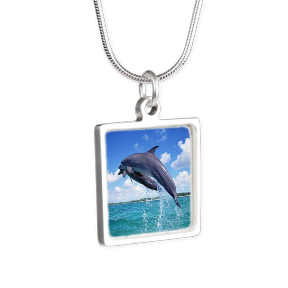Royal Lion Silver Square Necklace Dolphins Singing