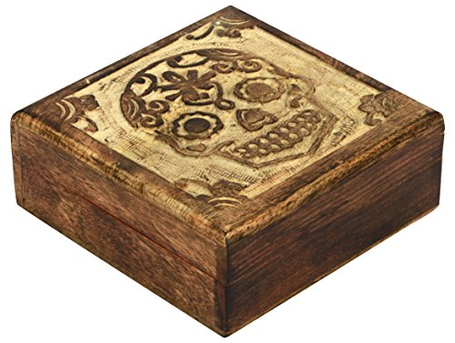 SAAGA Wooden Multipurpose Jewelry Box Keepsake Trinket Treasure Box with Carving | 5x5 inches