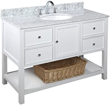 New Yorker 48-inch Bathroom Vanity Carrara White Includes Authentic Italian Carrara Marble Countertop, White Cabinet with Soft Close Drawers, and White Ceramic Sink